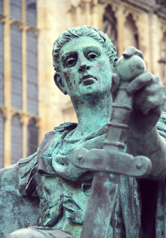 Description of . A monument to Constatine the Great, who was proclaimed emperor in York and is best known for converting the Roman Empire from paganism to Christianity.(Photograph by Dennis Lennox)