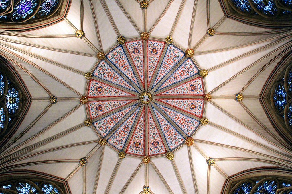 Description of . The ceiling of the Chapter House at York Minster (Photograph by Dennis Lennox)