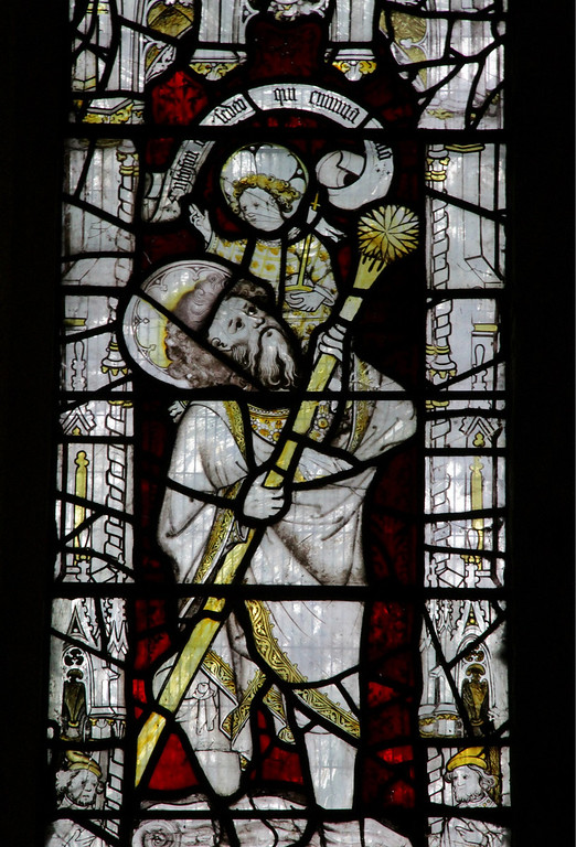 Description of . A stained glass window depicting Saint Christopher from the 1420s at All Saints Church on North Street (Photograph by Dennis Lennox)