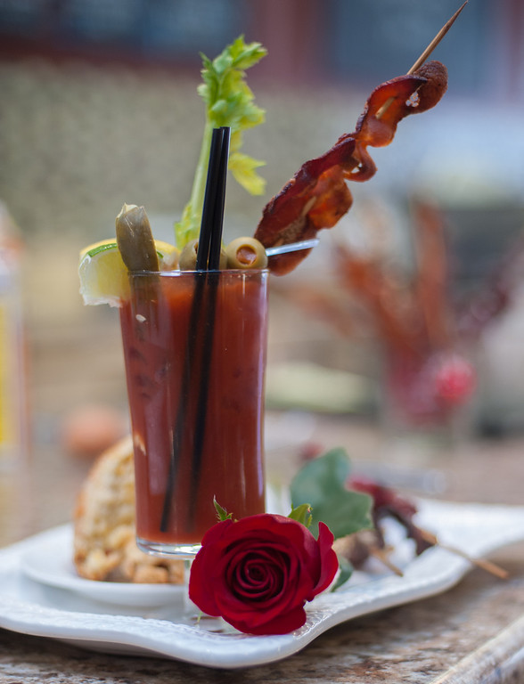 Description of . A Bloody Mary with bacon vodka is shown at the Market on Main in downtown Mt. Pleasant, Mich.