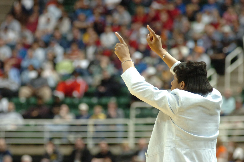 Description of . In 2006, Keisha Brown was the first woman in MIchigan history to coach a high school boys basketball team to the state finals; Sacred Heart lost the state finals. (Sun photo by LISA YANICK-JONAITIS)
