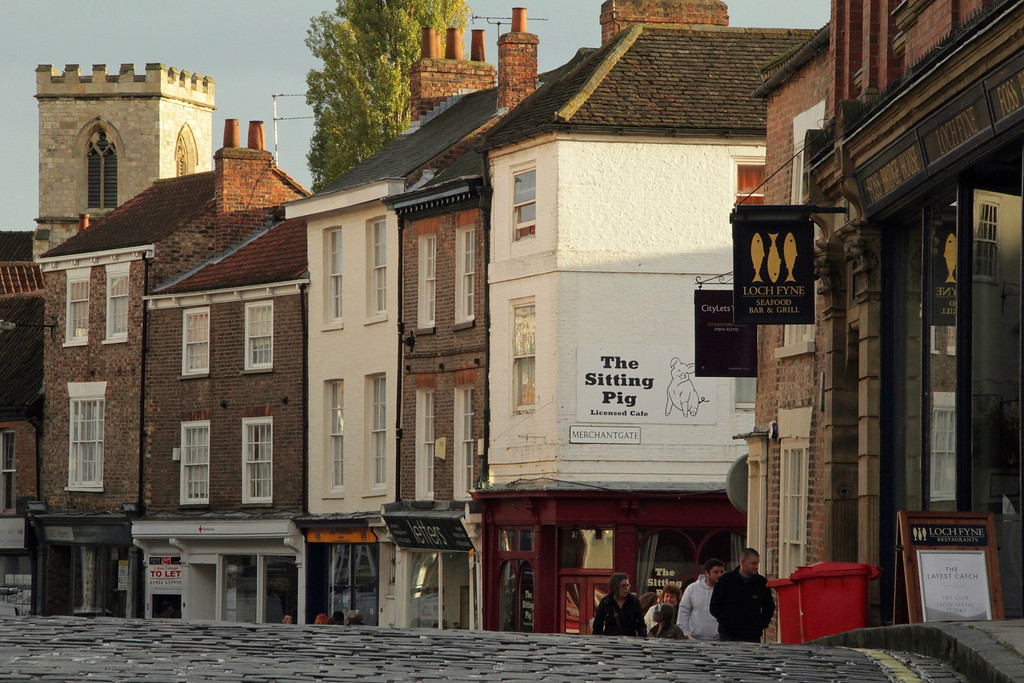 Description of . The cobblestone streets of York (Photograph by Dennis Lennox)