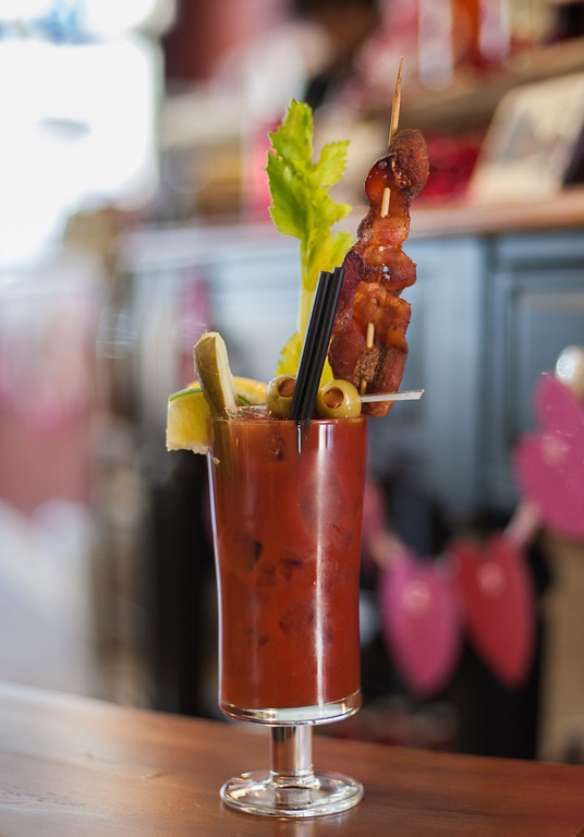 . A Bloody Mary with bacon vodka is shown at the Market on Main in downtown Mt. Pleasant, Mich. (Sun photo by Holly Mahaffey/@hollymahaffey)