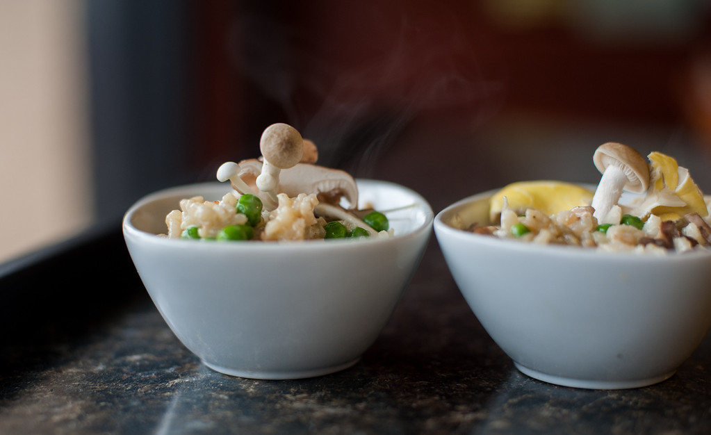 . Mushroom and spring pea risotto is shown at the Market on Main in downtown Mt. Pleasant.Chef Emma Currie of the Brass Cafe shares her tips for using and preparing mushrooms. (Sun photos by Holly Mahaffey/@hollymahaffey)