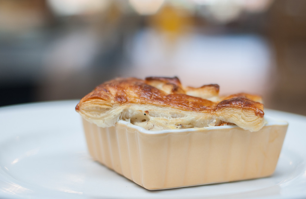 """. Chicken potpie is shown at the Market on Main, which chef Emma Currie said is \""""the quintessential comfort food, roast chicken, with vegetables, a creamy soul satisfying sauce, and buttery flaky pastry baked in the oven with little fuss.\"""" (Sun photo by Holly Mahaffey/@hollymahaffey)"""